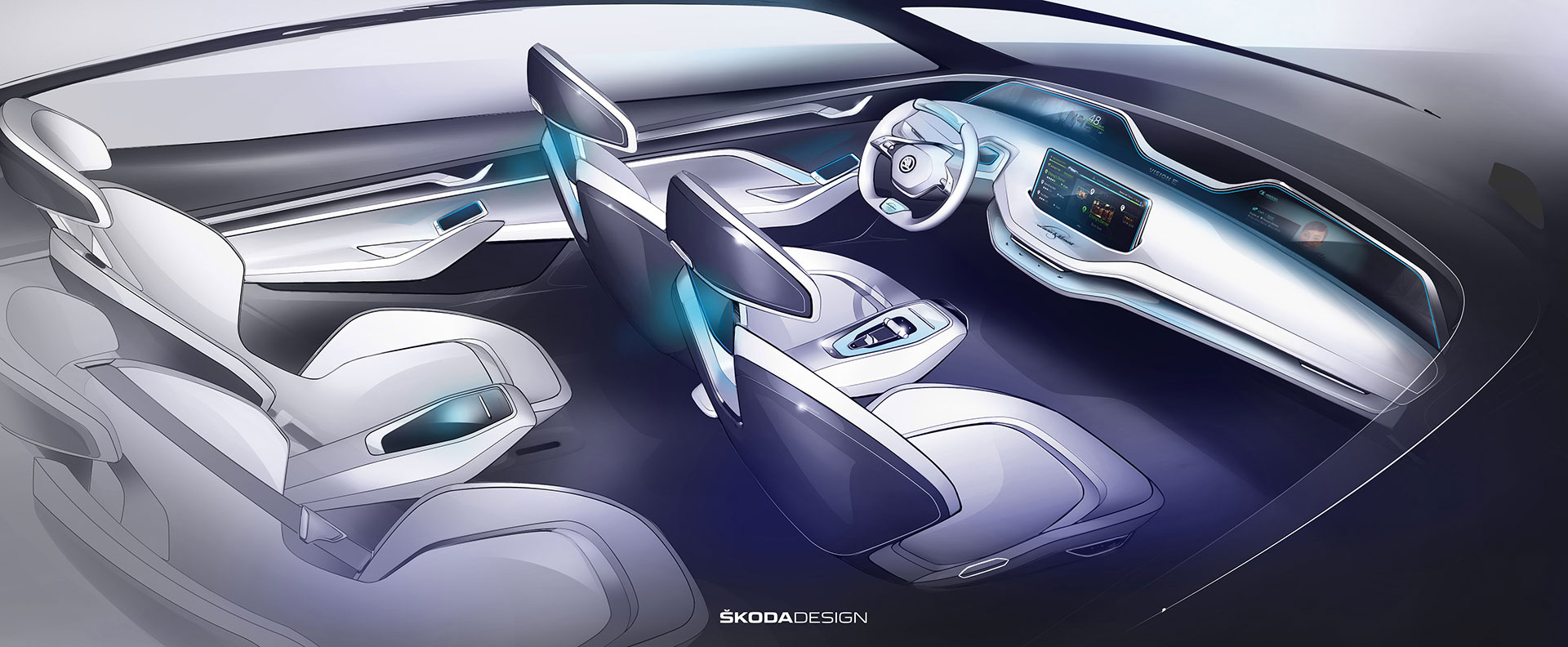 Skoda vision e concept interior design sketch render car - Car interior design ...