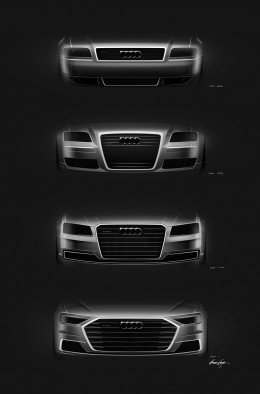 Audi A8 Front Grille Design Sketches Comparison