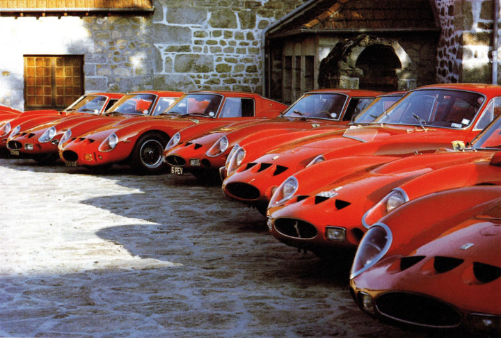 Meeting on the 20th Anniversary of the 250 GTO In the picture deployment of GTOs in the estate of Pierre Bardinon