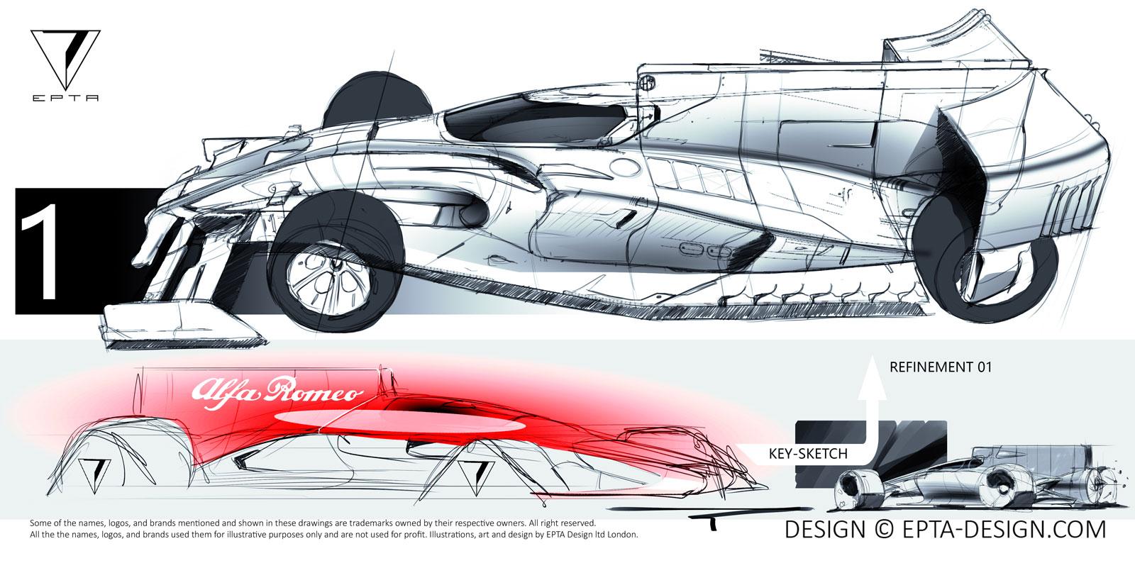 Alfa Romeo 2018 Brabham EVO F1 Concept Design Sketch - Car Body Design