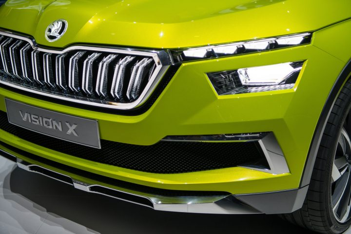 Geneva 2018 Show Skoda Vision X Concept Front end and headlight