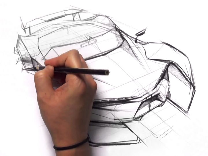 Car Design Sketching in Bird Eye View