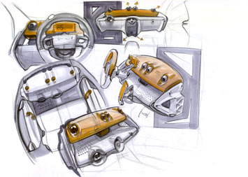 Smart Fortwo - interior sketch