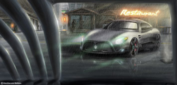 Car rendering in Photoshop - rain effect + reflections