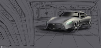 Car rendering in Photoshop - environment sketch