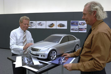 Professor Peter Pfeiffer, Senior Vice President Design Mercedes-Benz, (left) and Karlheinz Bauer were responsible for the design of the new C-Class.
