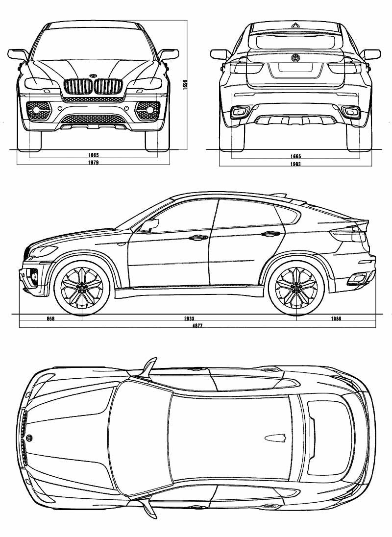 BMW Concept X6 Blueprint dimensions - Car Body Design