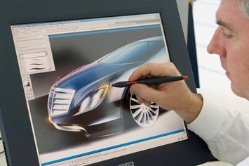 Chris Rhoades sketching the Mercedes F700 Concept on the Cintiq