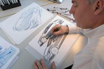 Chris Rhoades sketching the Mercedes-Benz F700 Concept