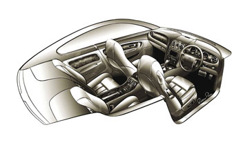Bentley Coupe GT Interior Sketch