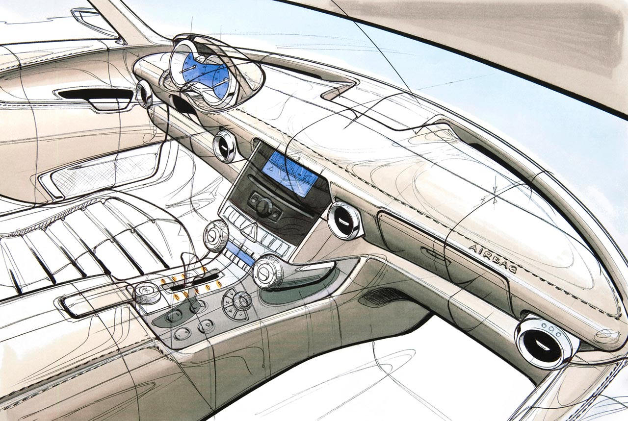 Mercedes Benz Sls Amg Interior Design Sketch Car Body Design