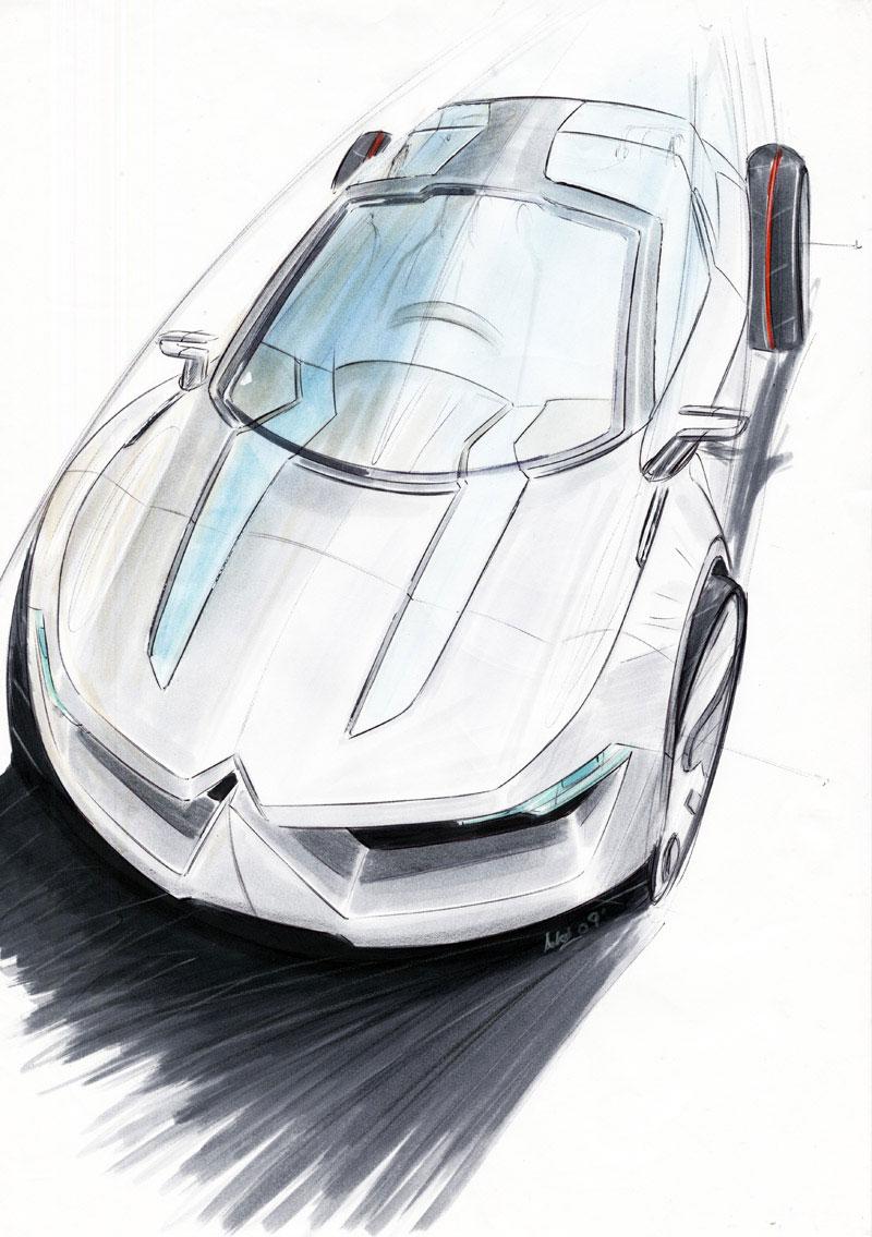 Citroen Eco Luxury Sedan Marker Sketch Car Body Design