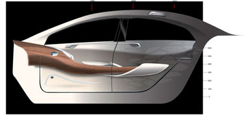 Mercedes Benz F800 Style Interior Door Panel Design Sketch