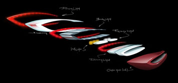 Mercedes Benz F800 Style Tail Light Exploded Design Sketch