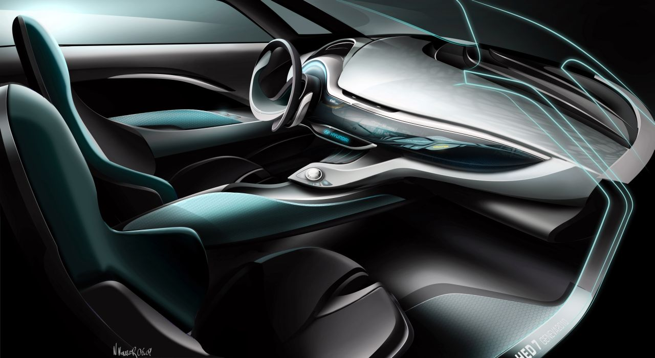 Hyundai I Flow Concept Interior Design Sketch Car Body