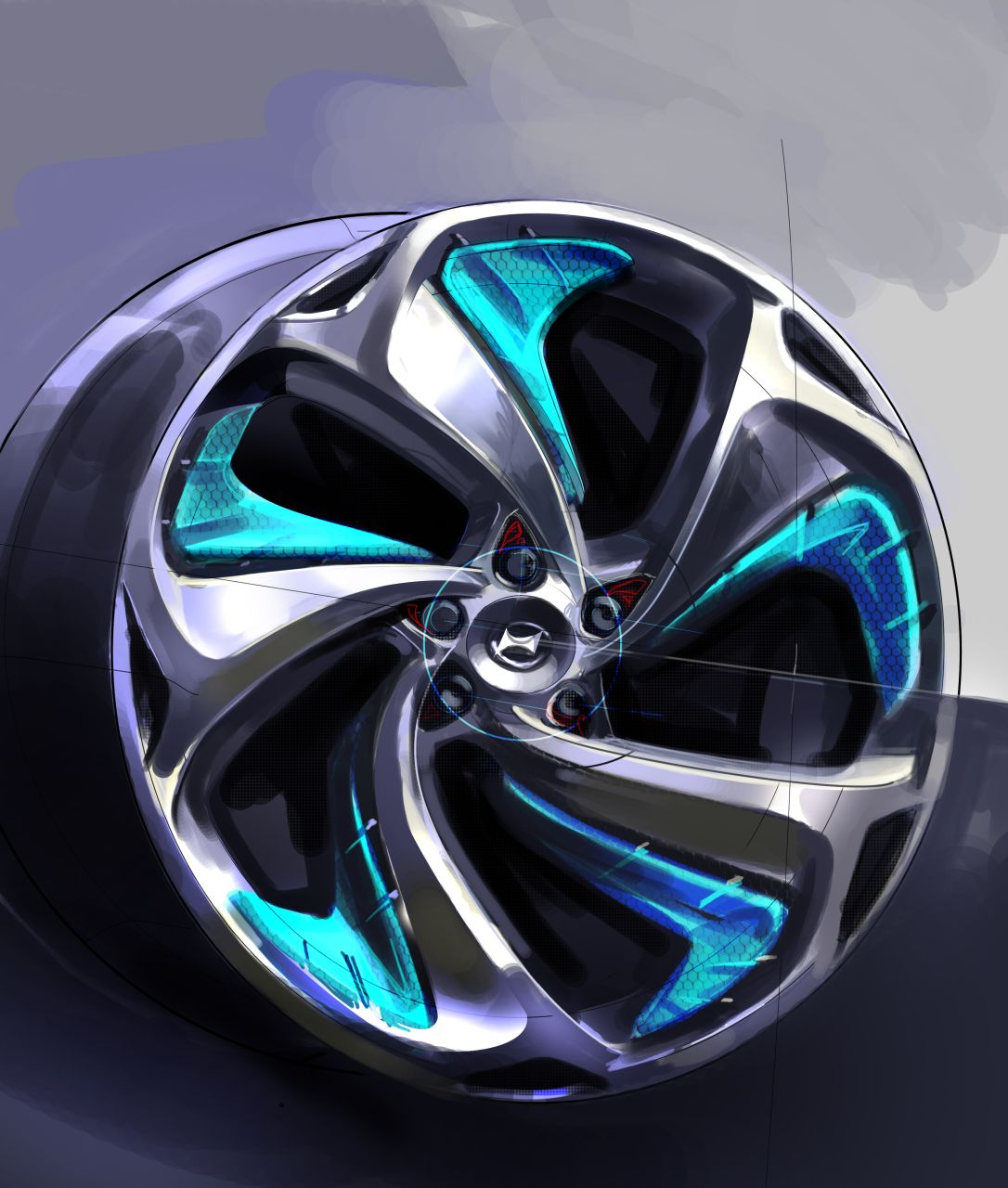 Hyundai I Flow Concept Wheel Design Sketch