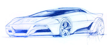 Lancia Stratos Design Sketch by Bertone