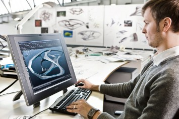 Mercedes-Benz interior designer working on the Cintiq