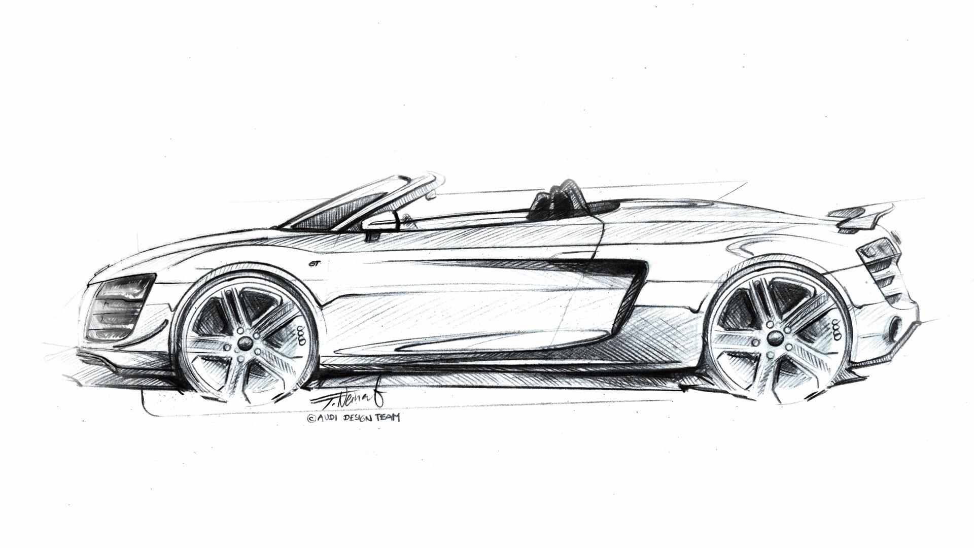 Audi R8 Gt Spyder Design Sketch Car Body Design