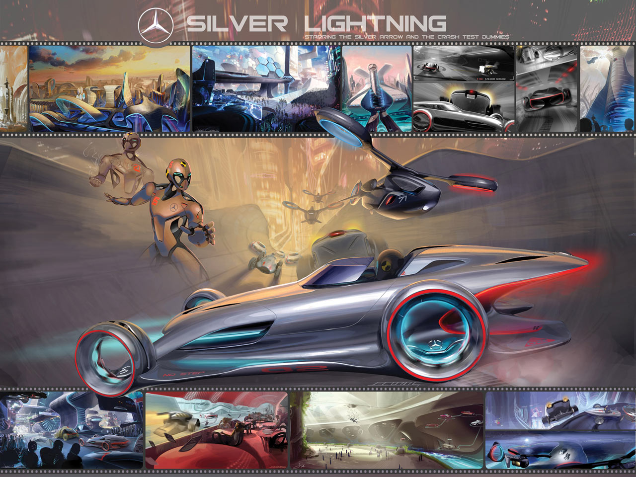 Mercedes Benz Silver Lightning Poster Detail Car Body Design