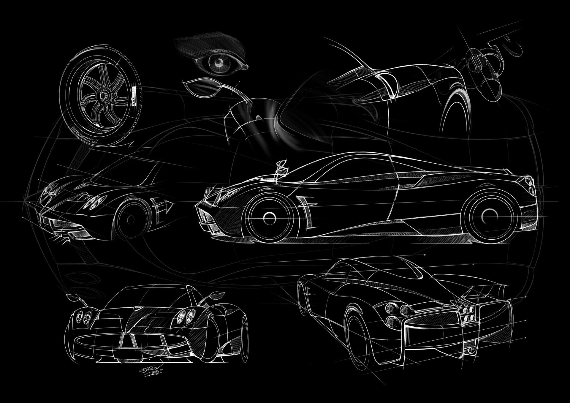 Pagani Huayra Design Sketches Car Body Design