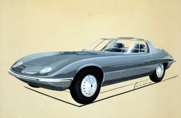 1963 Bertone Chevrolet Corvair Testudo - Sketch by Giugiaro