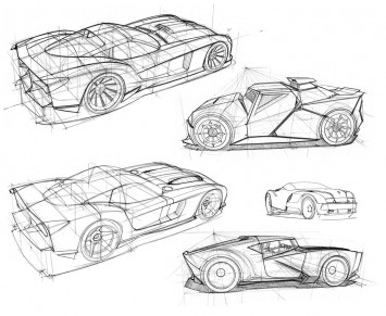 Perspective Car Design Sketches by Scott Robertson