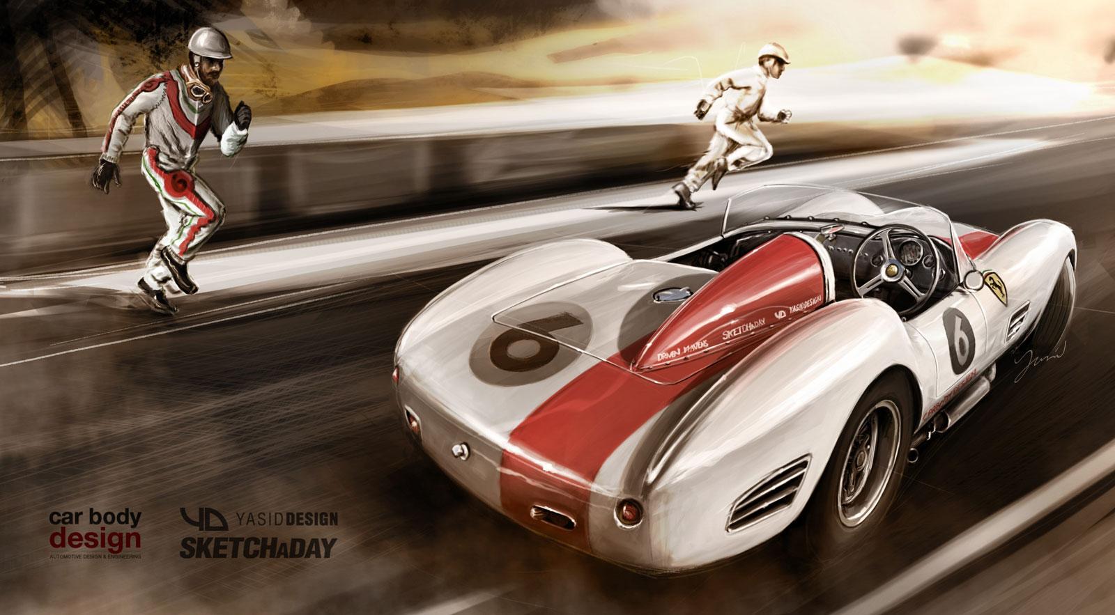 Yasid Oozeear 1960s Ferrari Dino At Le Mans Car Body Design
