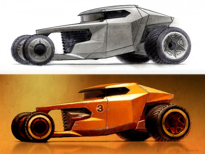 Colorizing and weathering a car greyscale sketch in Photoshop
