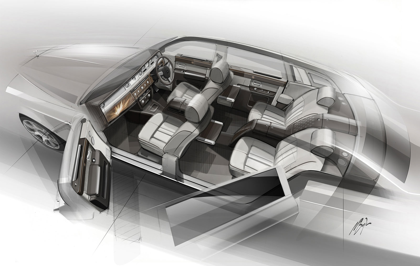 Rolls Royce Bespoke Collection Interior Design Sketch