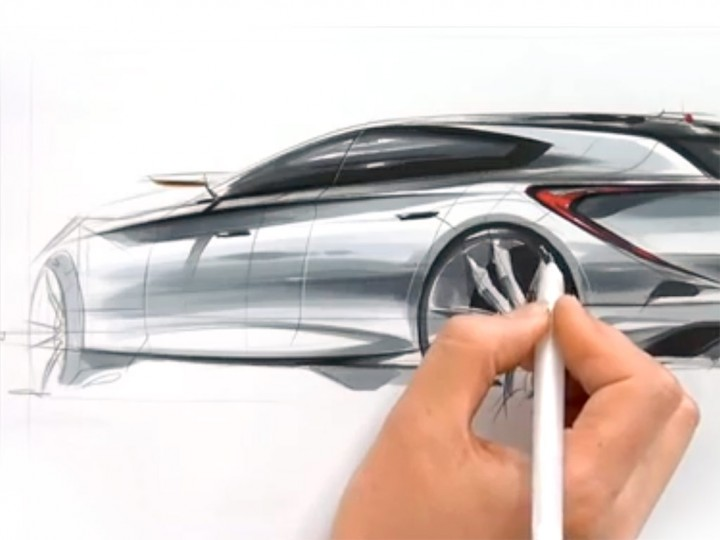 Car design sketching demonstration