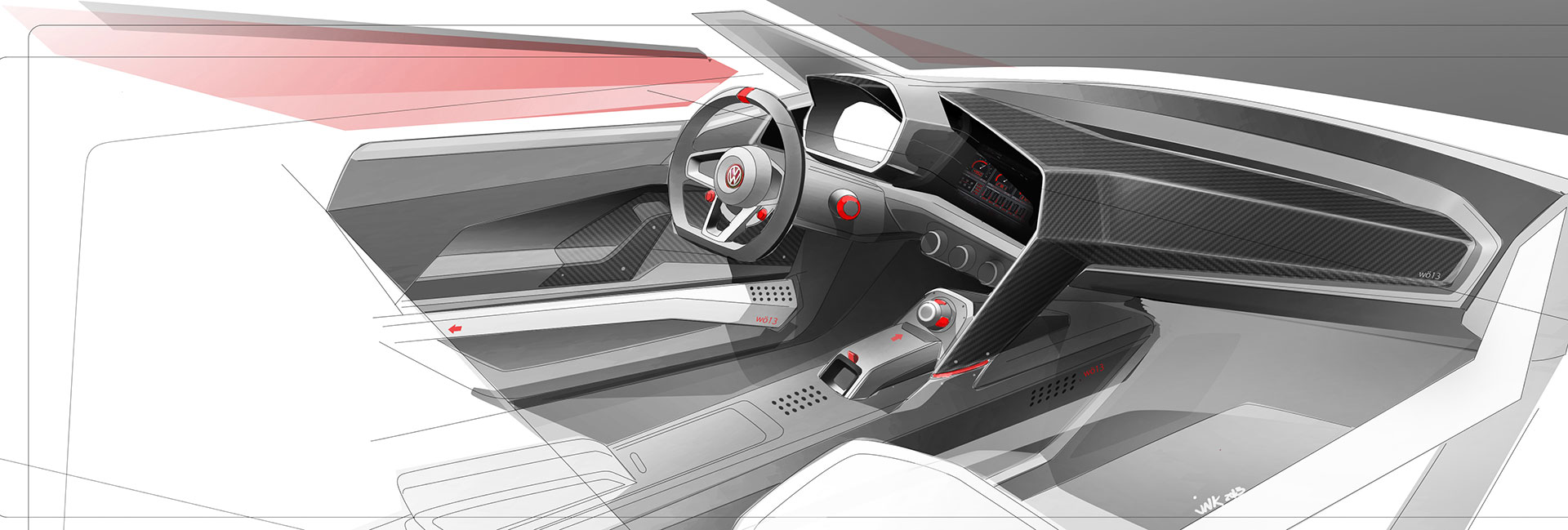 Volkswagen Design Vision Gti Interior Design Sketch Car
