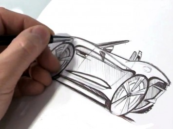 Wayne Burgess sketching the Jaguar F-Type