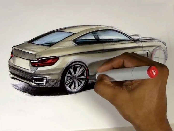Rendering a 2014 BMW 4 Series Coupe with Markers