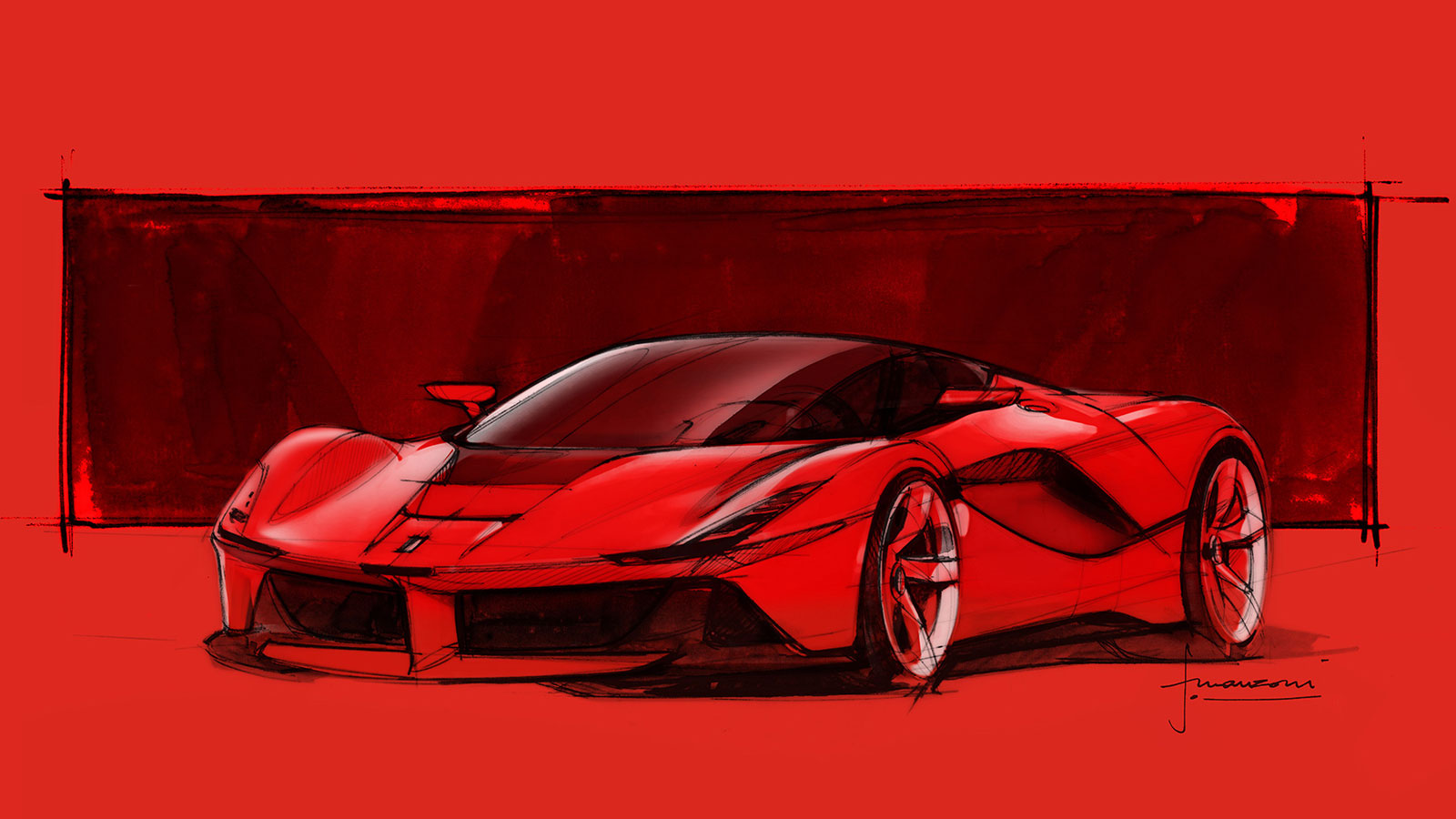 LaFerrari design Sketch by Flavio Manzoni - Car Body Design