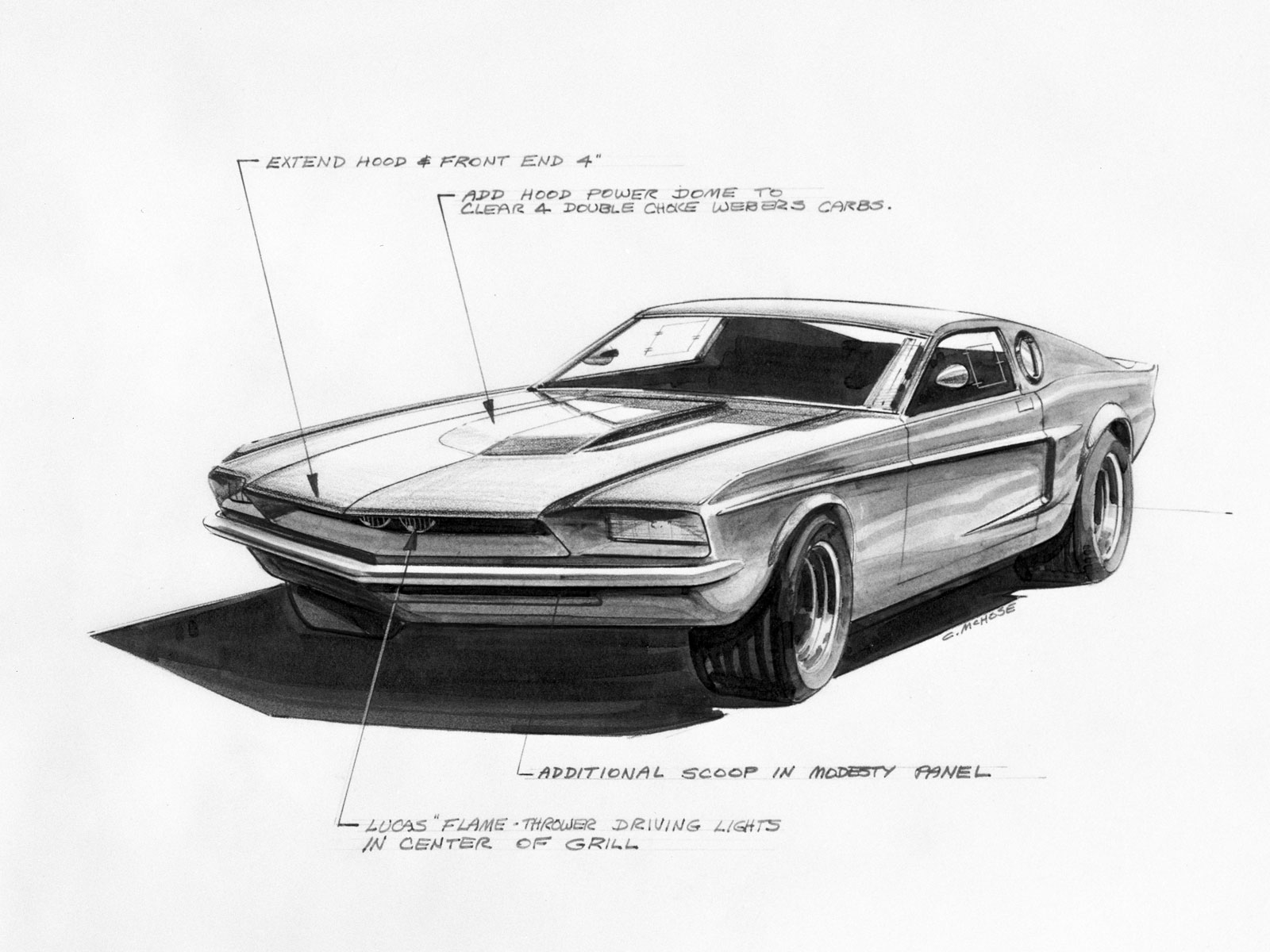 1966 Ford Mustang Mach 1 Concept Design Sketch