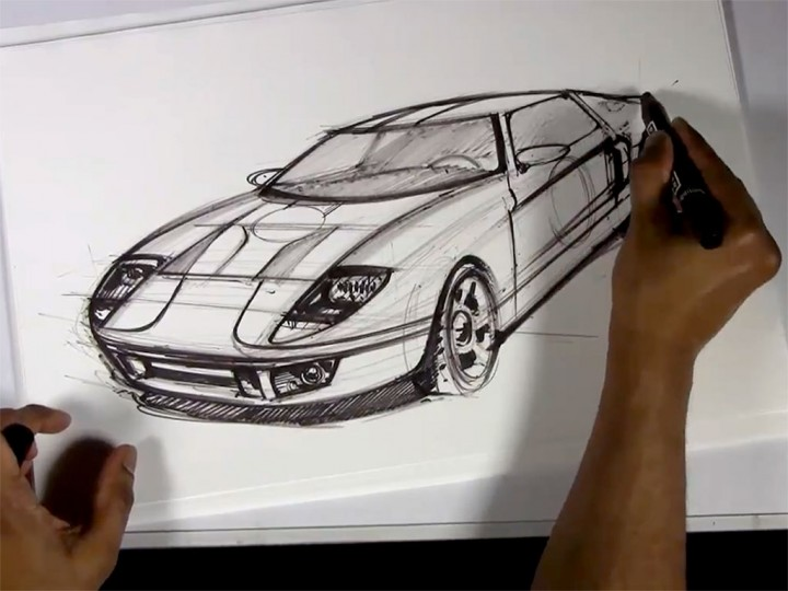 Sketching a Ford GT in 3/4 front view
