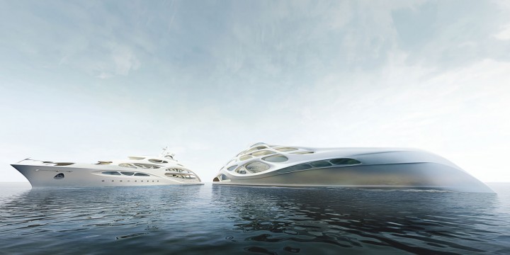 90m JAZZ and 128m Superyacht Concept by Zaha Hadid