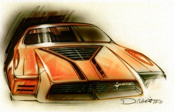 1971 Mustang II Ram-Air Boss design sketch by Ford designer Dick Nesbitt