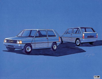 1974 Fiat Panda Design Sketch Rendering by Giugiaro