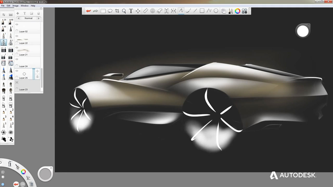 Autodesk SketchBook Pro Screenshot - Car Body Design