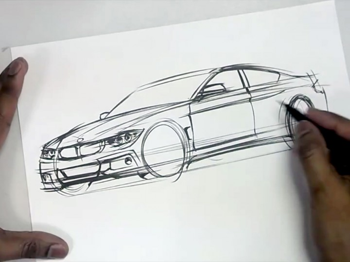 Drawing Bmw Cars With A Brush Pen Car Body Design