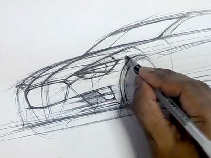 Ballpoint pen car sketch tutorial - Car Body Design