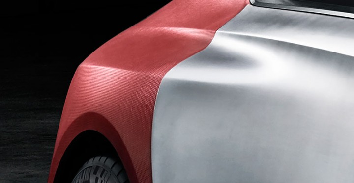 Peugeot Exalt Concept - Bare metal and Shark Skin fabric detail
