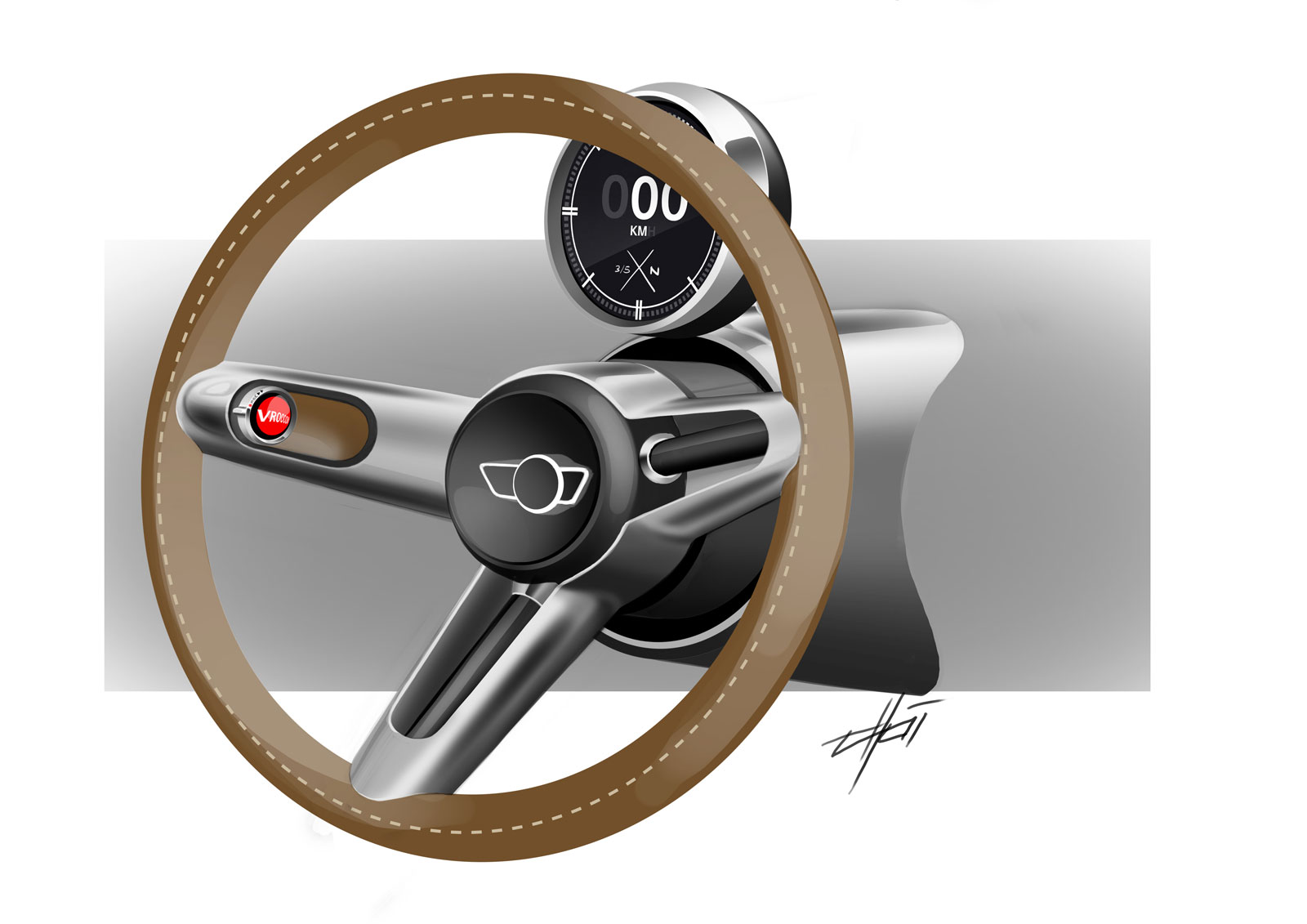 MINI Superleggera Vision Concept Interior Design Sketch Steering Wheel