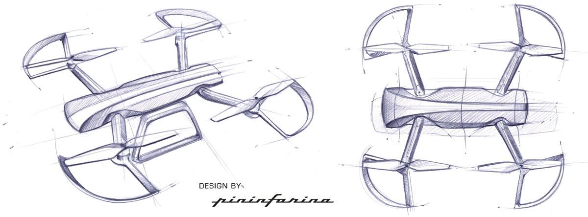 Sky Rider Drone by Pininfarina - Design Sketches - Car Body