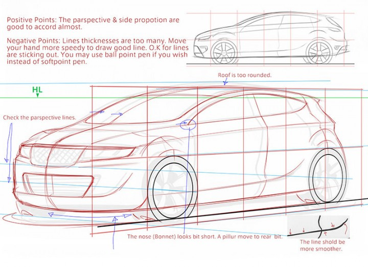 Car Design Academy - Sketching Textbook sample