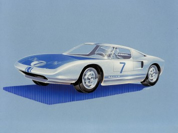 1963 Ford GT concept Vintage Design Sketch Render