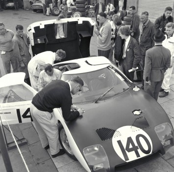 1964 Ford GT under inspection for Nurburgring 2000K race