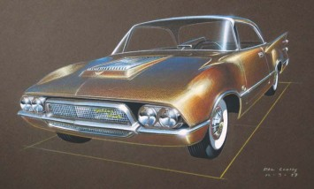 1957 Studebaker Golden Hawk - Design Sketch Render by Del Coates